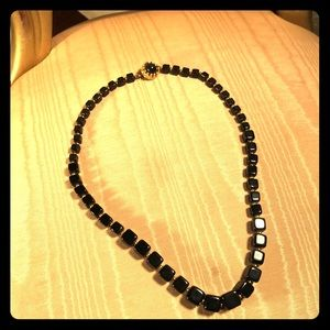Vintage Black Beaded Necklace with Gold Clasp